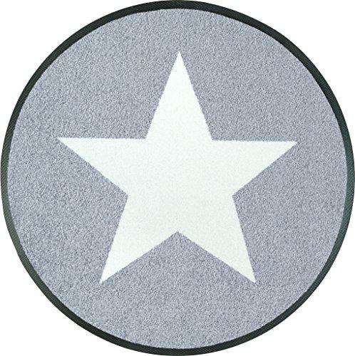 Wash&Dry 076025 Fußmatte Stars, rund, Durchmesser 75 cm, grau