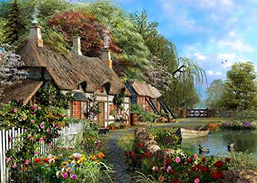 IamEngland Riverside Home in voller Blüte von Dominic Davison - METALL SCHILD - Größe ca. 150 x 200 mm (Riverside Metall)