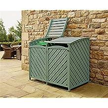 Bergman Double Wheelie Bin Store Outdoor Cover Recycling Storage Hinged Lid Wooden Green