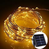 Solar Fairy String Lights Outdoor Indoor Copper Wire Lights Solar Powered Christmas Tree Garden 100 Micro Warm White LEDs Starry Firefly Fairy Rope Lamp Waterproof 10M 2 Modes for Valentine