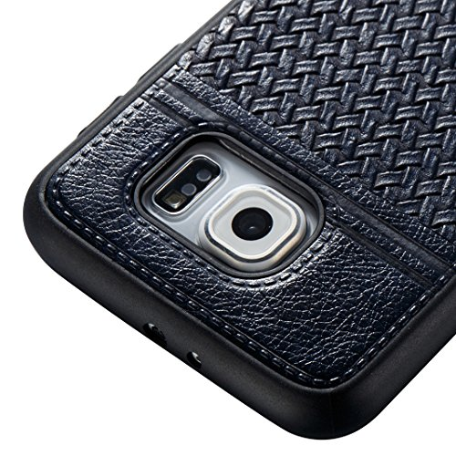 Cover Per Samsung Galaxy S6, Asnlove TPU Moda Morbida Custodia Linee Intrecciate Caso Elegante Ultra Sottile Cassa Braided Stile Tessere Case Bumper Per Samsung Galaxy S6 - Rosa Blu