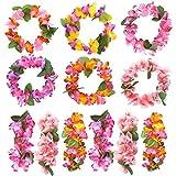 FEPITO 12 Stück Hawaiiketten Tropical Party Hawaiische Blume Leis Halsketten Blumenketten Hochzeit Stirnband Set Aloha Tiki Jungle Beach Moana Themed Sommer Geburtstagsfeier