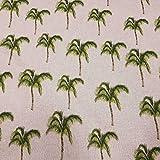 Stoff Meterware Baumwolle natur Palme grün pflegeleicht