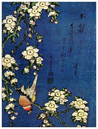 ArtPlaza Hokusai Katsushika - Bullfinch and Drooping Cherry, Dekorative Paneele, Holz, Mehrfarbig, 60 x 1.8 x 80 cm