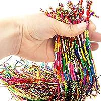 MUANI 10 PCS hecho a mano de hilo tejida cuerdas de la amistad del Hippie para el tobillo pulsera pulsera de la trenza de cables de colorido