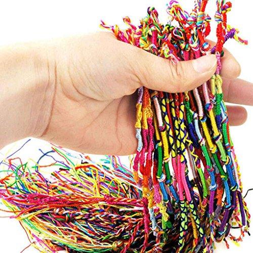 shangjunol 10 PCS Hecho a Mano de Hilo Tejida Cuerdas de la Amistad del Hippie para el Tobillo Pulsera Pulsera de la Trenza de Cables de Colorido