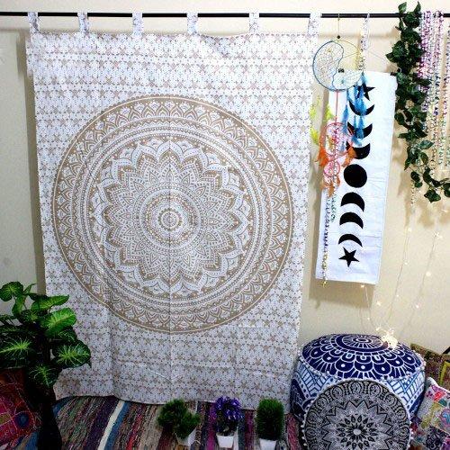 Indische Baumwolle Tapisserie Vorhänge, Boho Vorhänge, Original Golden Ombre Mandala Drapes, Mandala, indische Vorhänge Mandala Wandbehang Fenster Behandlung Tür Aufhängen (Golden)