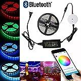 Topled Light®16.4ft / 5M multi colore RGB Bluetooth Smartphone App controllata Kit striscia di luce, funziona con iPhone, Android, Windows e Kit Amazon Fuoco Phone & Tablet Sistema di illuminazione d'accento (5M RGB)