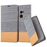 Cadorabo Hülle für Xiaomi Mi Mix 2 - Hülle in HELL GRAU BRAUN - Handyhülle mit Standfunktion & Kartenfach im Stoff Design - Case Cover Schutzhülle Etui Tasche Book
