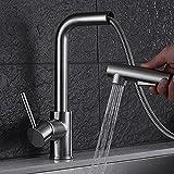 JRUIA Ausziehbarer Küche Wasserhahn 360°Schwenkbarer Küchenarmatur-Spültischarmatur mit Herausziehbarer Geschirrbrause Einhebel Mischbatterie Spüle Armatur aus Messing (Gebürsteter Nickel)