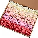 Lot de 30 roses artificielles, toucher réel, pour bouquets, fête des mères, mariage, Gradual Change Color 1, Rose head approx. 3-4 inches