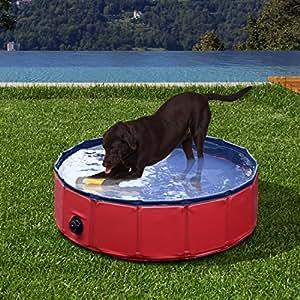 Bassin/piscine baignoire pour chien pour animal de compagnie pataugeoire animal Φ120 x H30cm rouge neuf 04RD