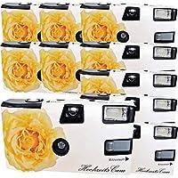 """10 x Photo Porst boda Cámara/cámara desechable """"crema amarillas de bodas Rose (instrucciones en alemán, con flash luz y pilas, por 27 fotos, ISO 400 Fuji)"""