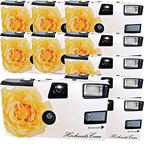 10 x Photo Porst boda Cámara/cámara desechable 'crema amarillas de bodas Rose (instrucciones en alemán, con flash luz y pilas, por 27 fotos, ISO 400 Fuji)