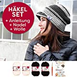 Myboshi Häkel-Set Schirm-Mütze Saitama mit 4x 50g myboshi Wolle No.1 + Häkel-Anleitung + Häkelnadel + selfmade Label in Farben (Schwarz Weiß)