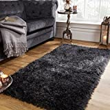 Sienna Large Shaggy Floor Rug Plain Soft 5cm Thick Area Mat Non-Shed Pile - Charcoal Dark Grey, 160 x 230 cm