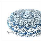 """Eyes of India - 32"""" Cuscino da Pavimento Meditazione Cuscino Copertura di Posti a Sedere Mandala Copriletto Rotondo Colorato Decorativo Bohémien Boho Letto per Cane Indiano Copertura - Blu #1"""