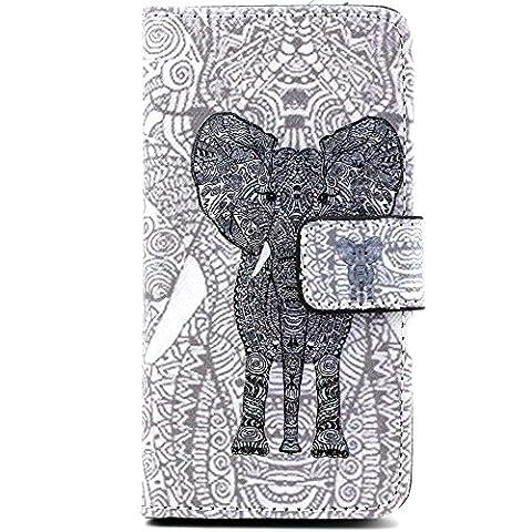 Ancerson multicolores étui de protection à rabat en cuir synthétique pour apple iPhone 5/5S/5 g dans la peinture à l'huile colorful painting à rabat style étui de protection en cuir avec fonction support et emplacements pour cartes schwarzer Elefant