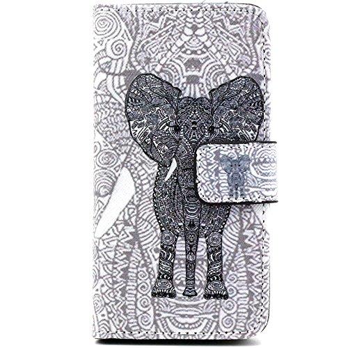 Più colorate Ancerson in pelle PU Flip Custodia per cellulare per Apple iPhone 5/5S/5G in pittura ad olio Stil Colorful Painting Custodia Flip Case Custodia in similpelle custodia per cellulare con fu schwarzer Elefant