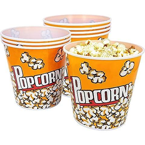 COM-FOUR® 8x Popcorn Eimer, Popkornschüssel mit einem Fassungsvermögen von je 2,8 Litern (08 (Pops Eimer)