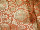 Pfirsichfarbener Brokat-Stoff Hochzeitskleid Banarasi Art