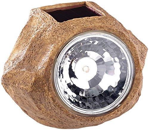 Royal Gardineer Solarleuchten Steinoptik: Solar-LED-Gartenlicht in Stein-Optik, wechselbarer Akku, 5 Lumen, IP44 (Solarleuchten Garten Steinoptik)