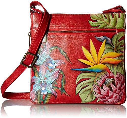 Anuschka handbemalte Ledertasche, Mode Schultertasche für Damen, Geschenk für Frauen, Handgefertigte Tasche mit - Schlanke Umhängetasche (Island Escape 550 ISE)
