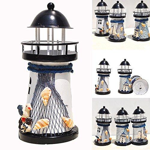 DIKHBJWQ 14cm Leuchtturm Eisenkerzenhalter Nautische Strand Anker Dekoration Hochzeit (Lichterkette/Light/Tischlampe/Nachttischlampe/Nachtlicht) (Hochzeit Nautische Dekorationen)