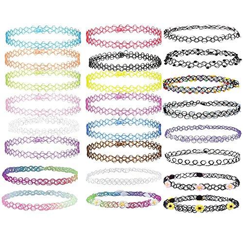 BJ-SHOP Choker Halskette,Tattoo Halskette Mädchen Classic Stretch Choker mit Anhänger Gothic Halskette, 24 Stück (Kind Halskette)