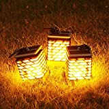 Quace Set of 3, Flickering Flame Torch Lights Solar Powered Lantern Hanging Decorative Atmosphere Lamp for Pathway Garden Deck Christmas Holiday Party Waterproof Auto On/Off