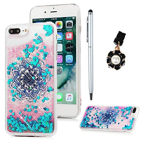Edauto iPhone 7 Plus Hülle iPhone 8 Plus Silikon Case Premium Bling Treibsand Tasche Stoßdämpfend Schutzhülle Case Cover Handytasche Bumper Handyhülle TPU Durchsichtige Rückhülle Schale Totemblume