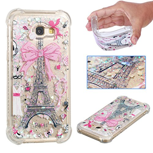 Wubaouk Samsung A5 2017/A520 Liquid Glitter Hülle Quicksand Clear Soft Silicone TPU Gel Cover Ultra Thin Hülle Eiffel Tower Shockproof Bumper Protective Women Phone Hülles