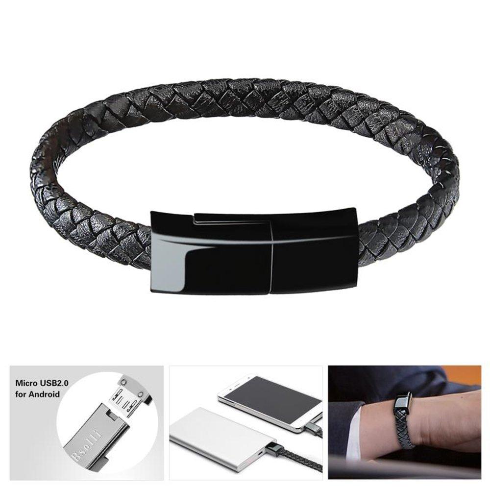 Bsolli - Pulsera con cable de carga USB, para Android o Samsung, HTC, LG, Sony, HUAWEI, Motorola y más 8.3'' marrón 1