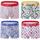 JINSHI Hommes Boxer Microfibre Caleçons sous-vêtement sans Couture Lot de 4, XL