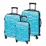 Trolley Set 3teilig blau Kofferset Cosmo Hartschalenkoffer mit Dehnfalte Gepäckset 4 Zwillingsrollen 360 Grad Trolley mit Kofferschutzbeutel Reisekoffer