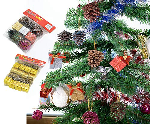 OldPAPA Miniatur Geschenk Kästen Silber Tannenzapfen, Weihnachtsbaum Dekorationen mit Glitzer, Nette glänzende Folie Bunte quadratische Kleine Kästen für Weihnachtsbaum Dekoration, B (Tannenzapfen Miniatur)