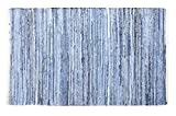 100% recycelte Baumwolle handgefertigt Denim Chindi Teppich, baumwolle, Mehrfarbig, 90 x 60 x 2 cm