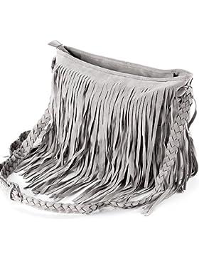 Fashion Fransen Damentasche Beutel Taschen Schultertasche Umhängetasche PU Wildleder mit Reissverschluss