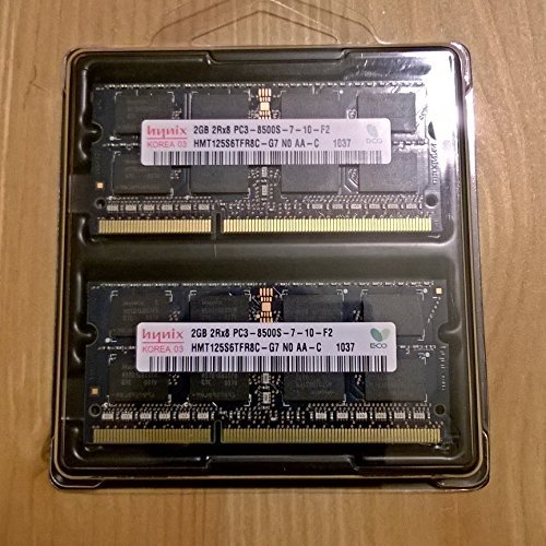 Dual Channel Kit: 2 x 2 GB = 4GB HYNIX 204 pin DDR3-1066 SODIMM (1066Mhz, PC2-8500, CL7) 128Mx8x16 double side, 2 x HMT125S6AFP8C-G7 für DDR3-NOTEBOOKs, MacBook, MacBook Pro, iMac, mac mini (2009 Versionen) Apple 4 Gb Notebook Ram