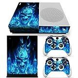 Xbox ONE S Designfolie für Konsole + 2 Controller + Kamera Sticker Skin Set – Totenkopf Blau