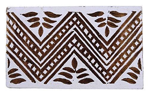 Hand geschnitztes Blatt-Muster Braun Holz Textildruck-Block Holz Stempel-Blöcke - Hand Geschnitzten Blättern