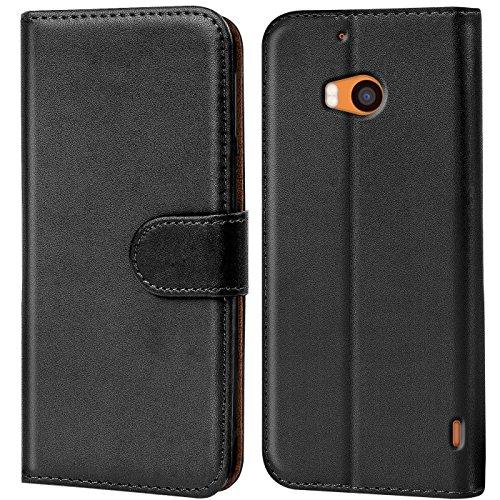 Verco Lumia 930 Hülle, Handyhülle für Nokia Lumia 930 Tasche PU Leder Flip Case Brieftasche - Schwarz