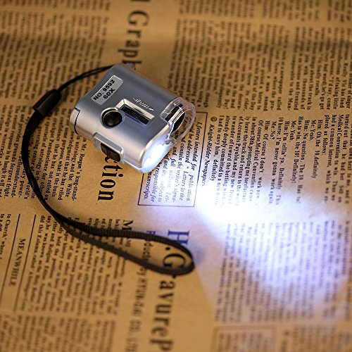 KKmoon 60X Mini-Mikroskop Juwelier Lupe Objektiv Lupenleuchte mit LED-UV-Licht Ledertasche Silber