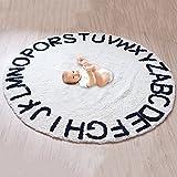 Luerme 26-letter Tapis de jeu antidérapante de coton enfants lettres de l'alphabet d'activité Tapis tissé à la main Tapis rond