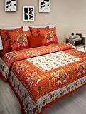 #7: Rajasthani Printed Cotton Floral King Size Double Bedsheets Wih 2 Pillow Cover