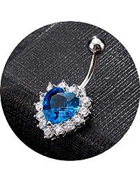 Daesar Körper Bauchnabelpiercing Silber Herz Rot/Weiß/Blau/Rosa/Lila/Champagner Zirkonia Bauchnabel Ring Edelstahl Bauch Ring