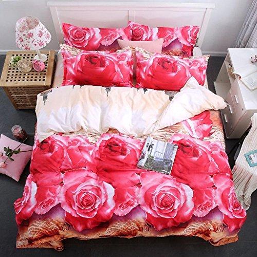 GHFDSJHSD Bettbezug-Set Mit 3D-Effekt BettwäSche SchöN Rose Blumen Drucken Gedruckt Auf Polyester-Material 4 SäTze Betttextilien Mit Bettbezug BläTter 2 Kissenbezug Einzel-Doppelbett, E -
