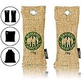 Amazy Bambus Schuherfrischer mit Aktivkohle – Ideal zur Beseitigung von unangenehmen Gerüchen in Schuhen – Schadstofffrei und 100% biologisch abbaubar (2 x 75 g | Braun)