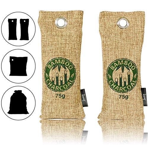 Amazy Bambus Schuherfrischer mit Aktivkohle – Ideal zur Beseitigung von unangenehmen Gerüchen in Schuhen – Schadstofffrei und 100 % biologisch abbaubar (2x75g | Braun) (Kohle-schuhe)