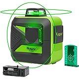 Huepar 602CG 2x 360 Livella Laser Verde 40m, Modalità Impulso & USB Ricarica batteria al litio, Livella Laser Autolivellante a Croce, Orizzontale/Verticale a 360 Gradi, con 360° Base magnetica